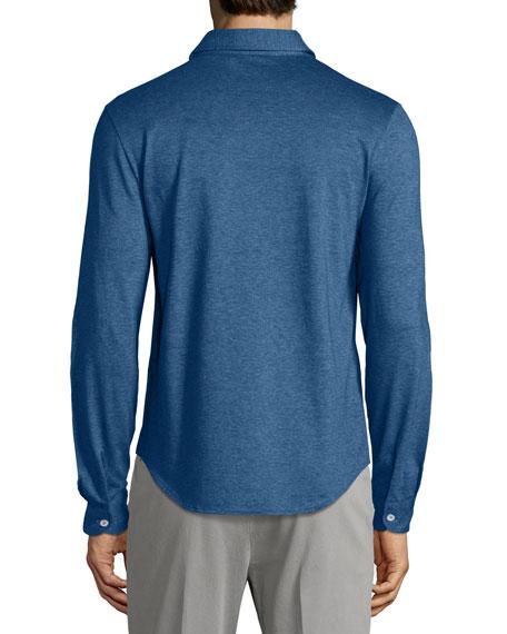 Long-Sleeve Pique Polo Shirt, Dark Blue