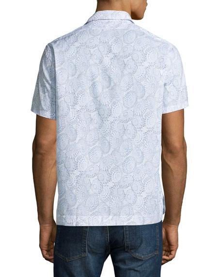 Floral-Print Cuban Short-Sleeve Shirt, White/Navy
