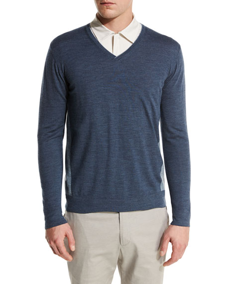 Ryder Cup Scollo V-Neck Bicolor-Wash Virgin Wool Sweater, Navy