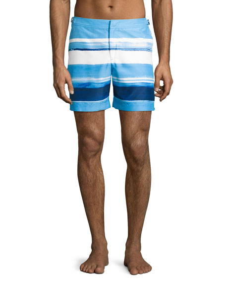 Orlebar Brown Bulldog McGovern Striped Swim Trunks, Blue