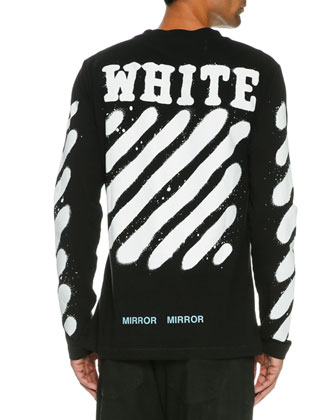 d7bd87b1d Off-White Spray-Paint Logo Long-Sleeve T-Shirt, Black/White | Neiman Marcus