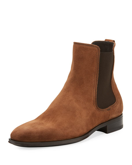Salvatore Ferragamo Darien Suede Chelsea Boot, Brown