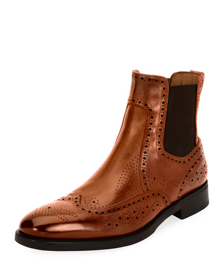 Wing-Tip Brogue Leather Chelsea Boot, Cognac Brown