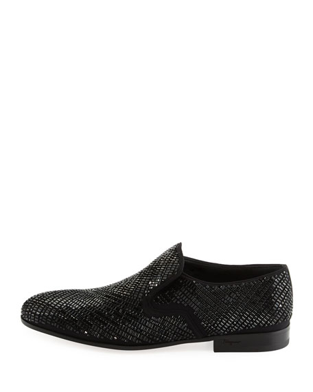 Crystal-Studded Formal Loafer, Black