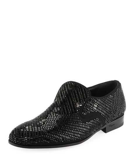 Salvatore Ferragamo Crystal-Studded Formal Loafer, Black