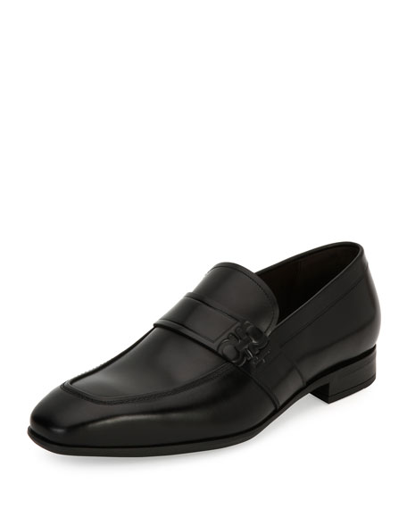Salvatore Ferragamo Gancini-Embossed Leather Loafer, Black (Nero)