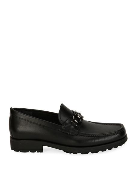Leather Lug-Sole Loafer, Black