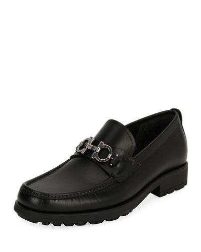 Men's Leather Lug-Sole Loafer, Black