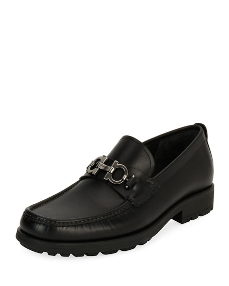 Salvatore Ferragamo Leather Lug-Sole Loafer, Black