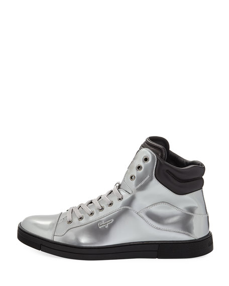 Patent Leather High-Top Sneaker, Silver
