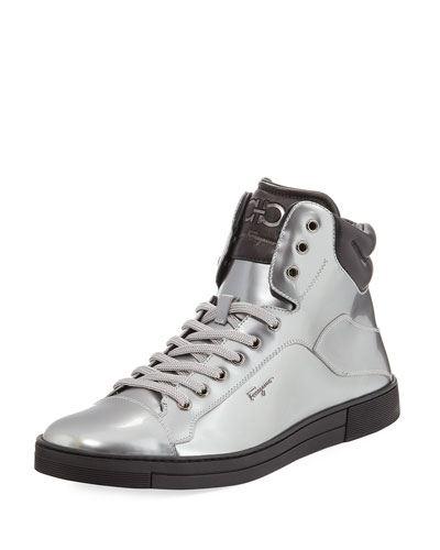 Stephen 2 Patent Leather High-Top Sneaker, Silver