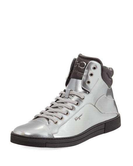 Salvatore Ferragamo Patent Leather High-Top Sneaker, Silver