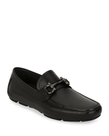 Men's Pebbled Leather Gancini Driver, Black
