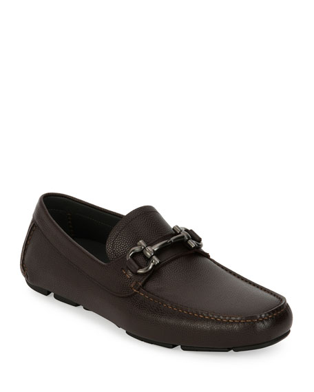 Salvatore Ferragamo Pebbled Leather Gancini Driver, Chocolate