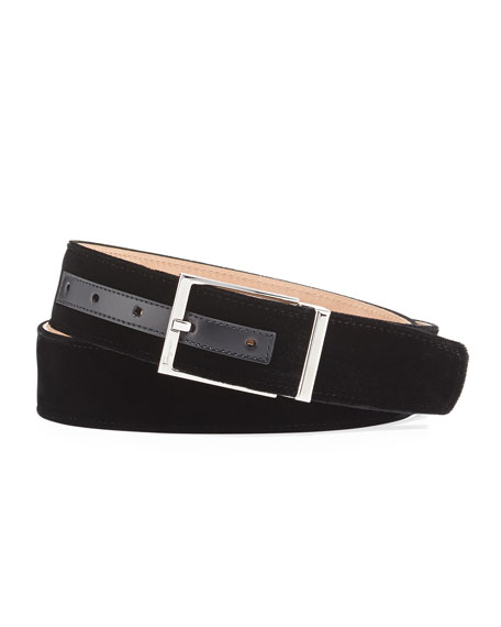 Salvatore Ferragamo Square-Buckle Formal Velvet Belt and Matching