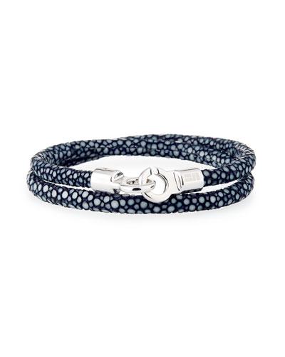 Men's Stingray Wrap Bracelet  Navy/Silver