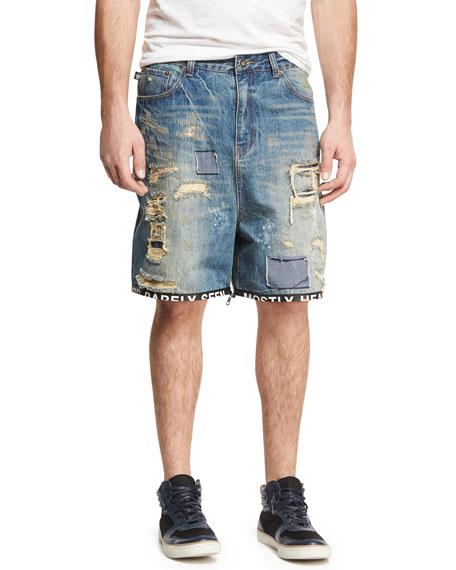 Destroyed Ticker Feed Cropped Jeans, Blue
