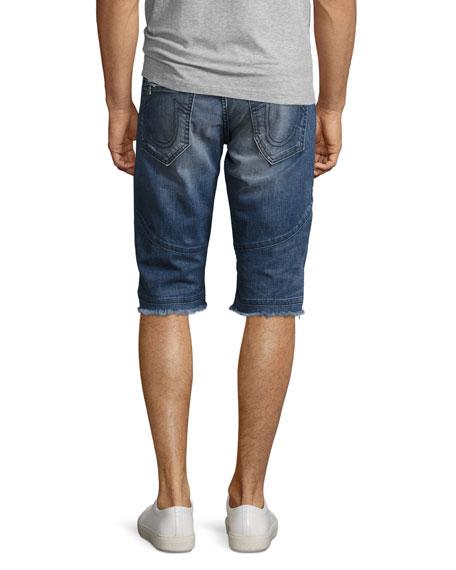 Geno Moto Denim Cutoff Shorts, Blue