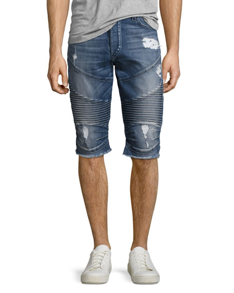 True Religion Geno Moto Denim Cutoff Shorts, Blue