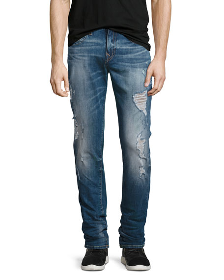 True Religion Rocco Distressed Skinny Jeans, Blue