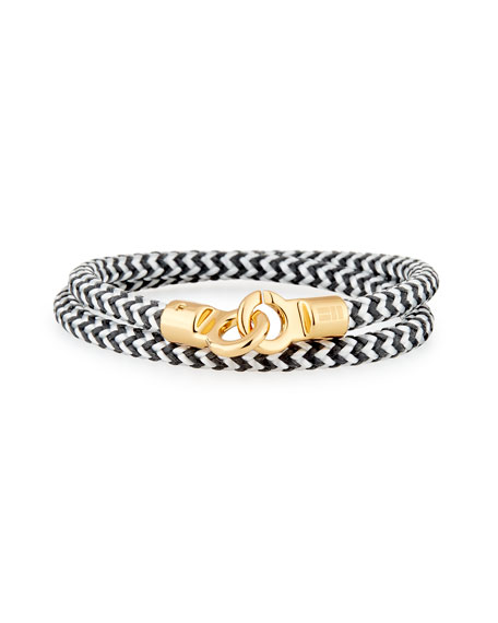 Men's Double Tour Braided Wrap Bracelet, Black/White/Golden