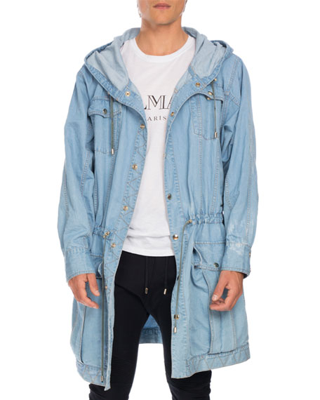 Balmain Distressed Long Denim Parka, Light Blue