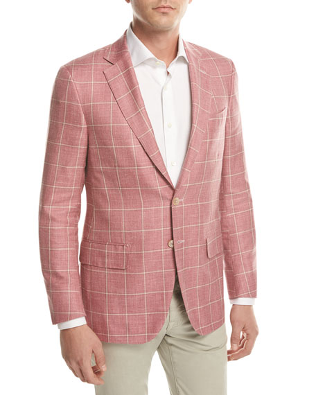Isaia Windowpane Check Two-Button Sport Coat