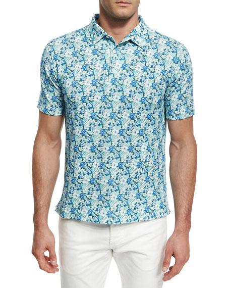 Floral Short-Sleeve Sport Shirt, Green/Blue