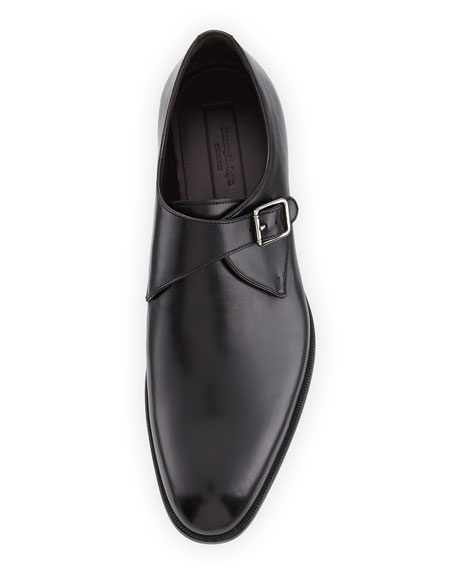 Leather Monk-Strap Shoe, Black