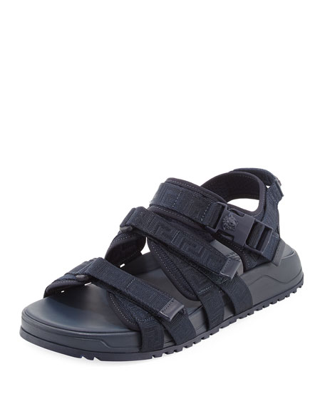 Versace Men's Greek Key Multi-Strap Sandal, Navy