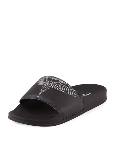 Marcelo Burlon Anny Leather Pool Slide Sandal, Black