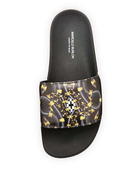 Benny Leather Pool Slide Sandal, Black