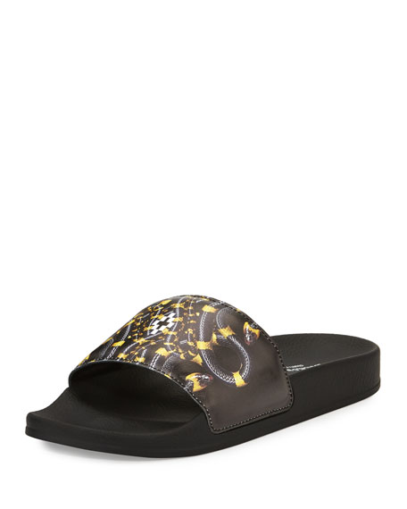 Benny Leather Pool Slide Sandal, Black