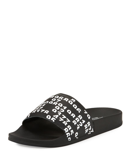 Marcelo Burlon Lea Leather Pool Slide Sandal, Black