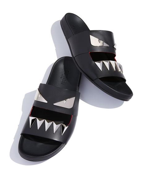 Monster Metal T-Shirtth Double-Strap Slide, Black