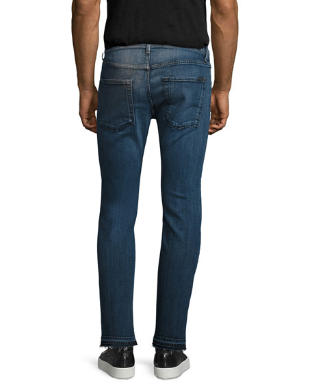 Paxtyn Skinny Jeans with Released Hem, Blue