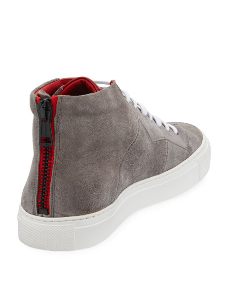 Vidar Men's Puzzle-Seam Suede High-Top Sneaker