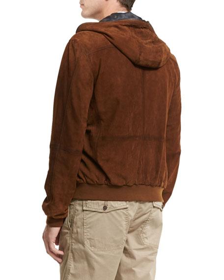Hooded Suede Bomber Jacket, Brown