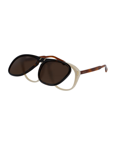 Gucci Flip-Up Aviator Sunglasses, Brown/Black