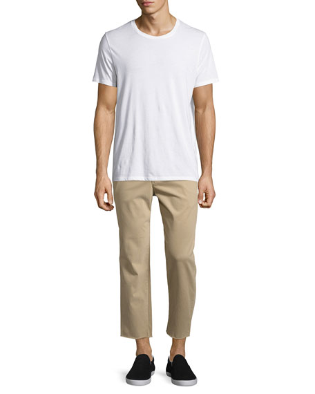 Soder Slim Stretch Chino Pants with Cut Hem, Beige