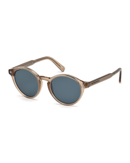 ermenegildo zegna round acetate sunglasses with chevron core