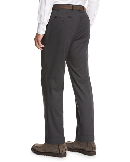 Image 3 of 4: Giorgio Armani Wool Flat-Front Trousers, Gray
