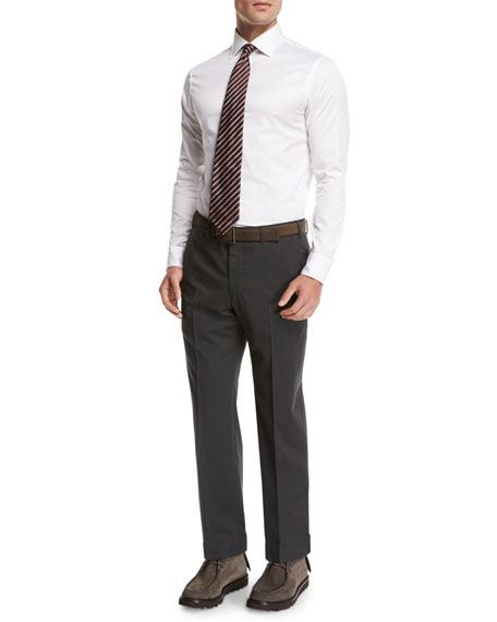 Image 4 of 4: Giorgio Armani Wool Flat-Front Trousers, Gray