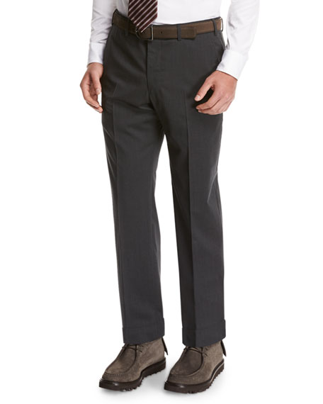 Image 1 of 4: Giorgio Armani Wool Flat-Front Trousers, Gray