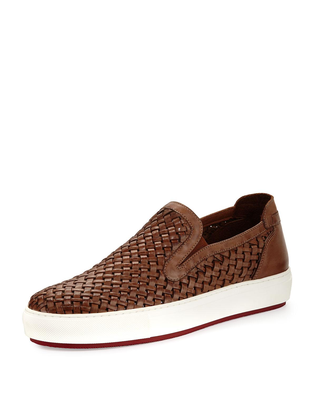 7df919fe46474 Donald J Pliner Clark Men's Woven Leather Slip-On Sneakers   Neiman ...