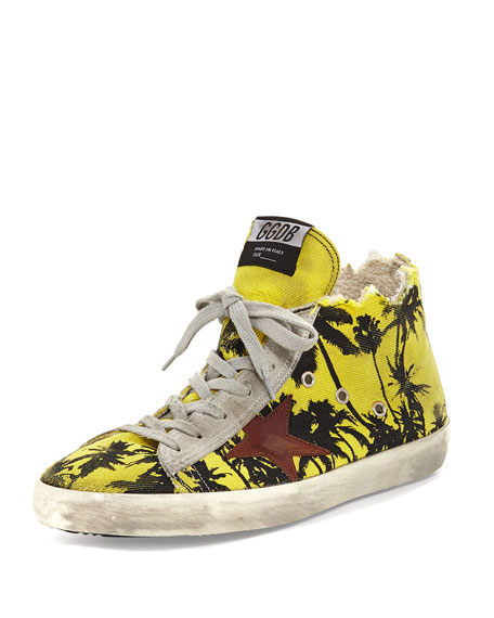 Golden Goose Men's Francy Men's Palm-Print High-Top Sneaker