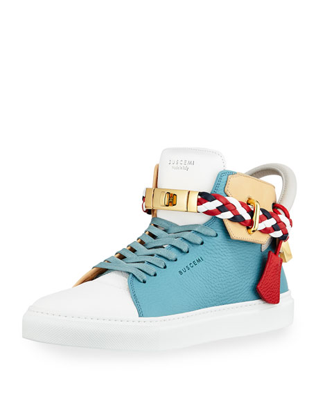 Buscemi Men's 100mm Mix High-Top Sneaker, Oxygen and