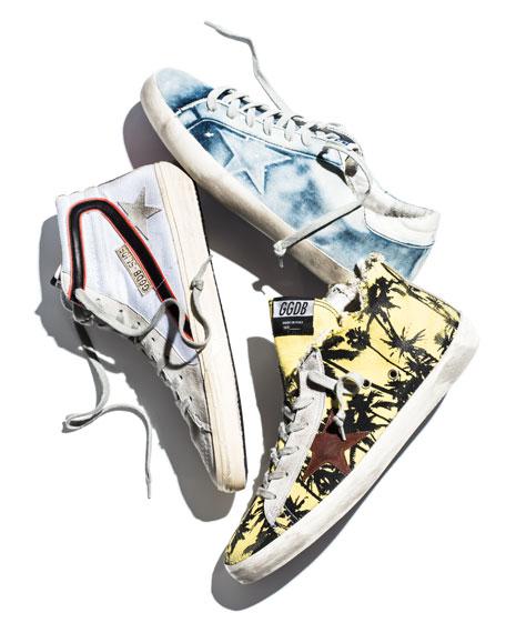 Men's GGDB Superstar Bleached Denim Sneaker, White/Blue