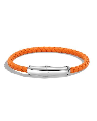 Men's 5mm Bamboo Woven Leather Bracelet, Orange