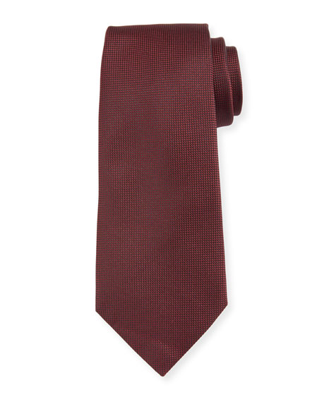 Ermenegildo Zegna Micro-Diamond Textured Silk Tie, Red